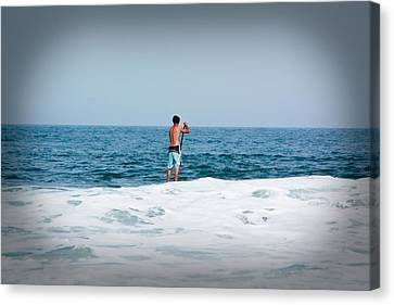 Surfer Waiting For Next Wave Canvas Print by Ann Murphy