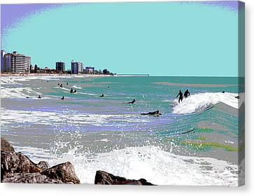 Surfers At Venice Beach Canvas Print by Charles Shoup