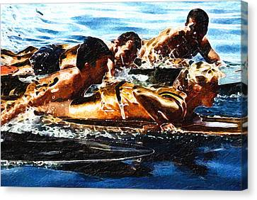 Surfing With The Boys Canvas Print by Ron Regalado