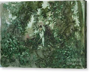 Surprised Bather Canvas Print by Elizabeth Carr