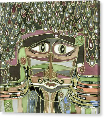 Surprize Drops Surrealistic Green Brown Face With  Liquid Drops Large Eyes Mustache  Canvas Print by Rachel Hershkovitz