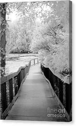 Surreal Infrared Art Canvas Print - Surreal Black White Infrared Bridge Walk by Kathy Fornal