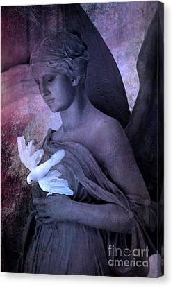 Surreal Dreamy Angel With White Dove Canvas Print by Kathy Fornal