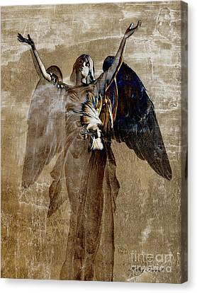 Surreal Fantasy Angel Wings Heavenly Art Canvas Print by Kathy Fornal