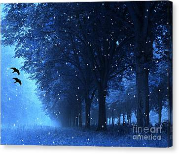 Surreal Fantasy Dreamy Blue Nature Landscape Canvas Print by Kathy Fornal