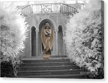 Surreal Ethereal Angel Standing On Steps - Surreal Infrared Angel Art Canvas Print by Kathy Fornal