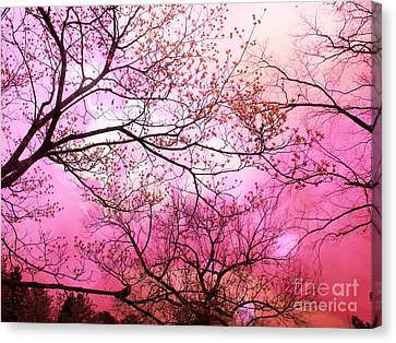 Surreal Fantasy Pink Sky And Trees Nature  Canvas Print by Kathy Fornal