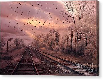 Surreal Fantasy Railroad Tracks With Birds Canvas Print