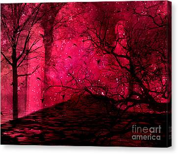 Surreal Fantasy Red Nature Trees And Birds Canvas Print by Kathy Fornal