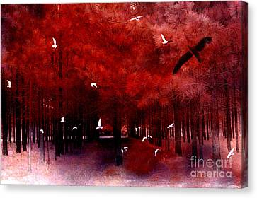 Nature Scene Canvas Print - Surreal Fantasy Red Woodlands With Birds Seagull by Kathy Fornal