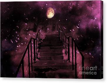 Surreal Fantasy Stairs Moon Birds Stars  Canvas Print
