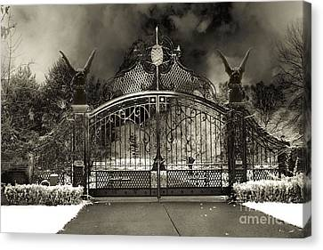 Surreal Gothic Gate And Gargoyles Stormy Haunted Sepia Nightscape Canvas Print