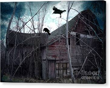 Surreal Gothic Old Barn With Ravens Crows  Canvas Print by Kathy Fornal