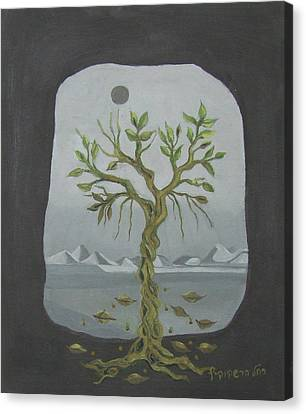 Surreal Landscape Framed  With Tree Falling Leaves Moon Mountain Sky   Canvas Print by Rachel Hershkovitz