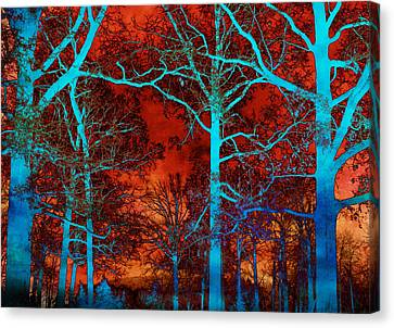 Surreal Orange Sky With Blue Trees Landscape Canvas Print by Kathy Fornal