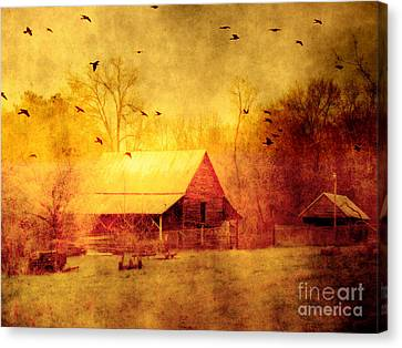 Surreal Red Yellow Barn With Ravens Landscape Canvas Print by Kathy Fornal