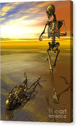 Surreal Skeleton Jogging Past Prone Skeleton With Sunset Canvas Print by Nicholas Burningham