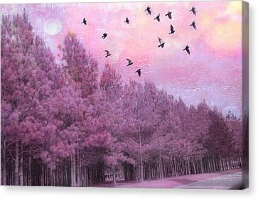 Surreal Trees Birds Pink Fantasy Nature Canvas Print