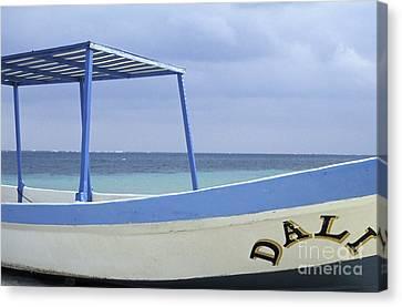 Canvas Print featuring the photograph Surrealist Fishing Boat Riviera Maya Mexico by John  Mitchell