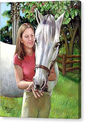 Canvas Print featuring the painting Suzanne With A White Horse by Nancy Tilles