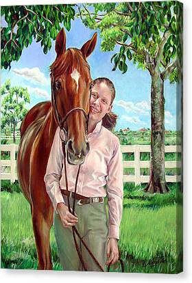 Canvas Print featuring the painting Suzanne With Her Horse by Nancy Tilles