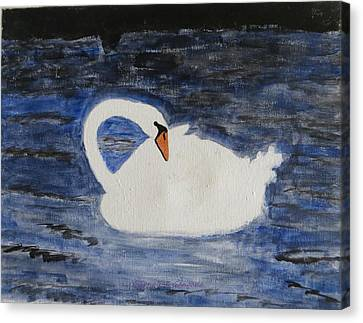Canvas Print featuring the painting Swan  by Sonali Gangane
