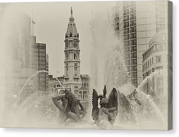 Swann Memorial Fountain In Sepia Canvas Print