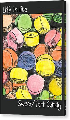 Canvas Print featuring the drawing Sweet Tart Candy by Ana Tirolese