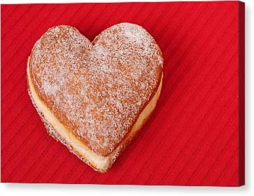 Sweet Valentine Love - Heart-shaped Jam-filled Donut Canvas Print