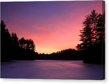 Swift River Connors Pond Winter Sunset Canvas Print by John Burk