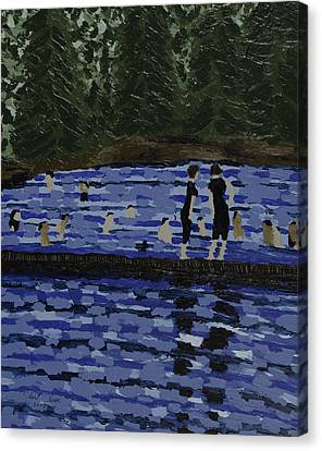 Swimming At The Res Canvas Print by Kurt Olson