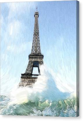 Swimming Pleasure In Paris Canvas Print by Steve K