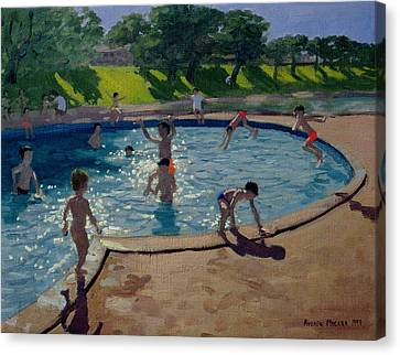 Towpath Canvas Print - Swimming Pool by Andrew Macara