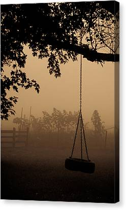 Canvas Print featuring the photograph Swing In The Fog by Cheryl Baxter