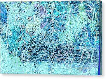 Swirls Of Blue With Dots Canvas Print by Anne-Elizabeth Whiteway