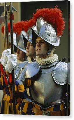 Swiss Guards, Standing At Attention Canvas Print