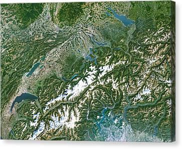 Switzerland, Satellite Image Canvas Print by Planetobserver
