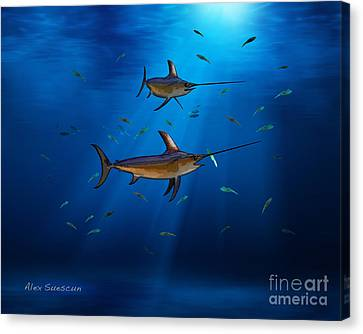 Swordfish Moon Canvas Print by Alex Suescun
