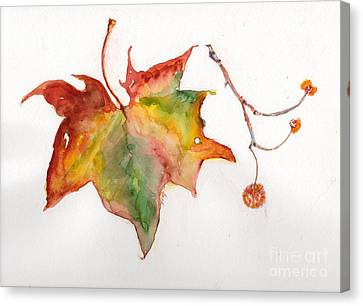 Canvas Print featuring the painting Sycamore Fall by Doris Blessington