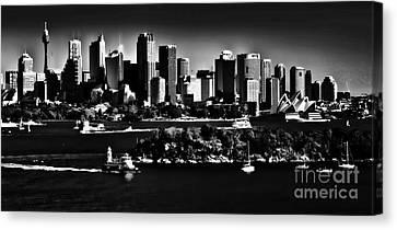 Sydney Harbour Monochrome Canvas Print by Avalon Fine Art Photography