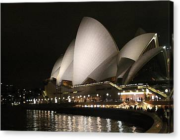 Canvas Print featuring the photograph Sydney Opera House At Night by Laurel Talabere