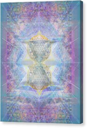 Synthecentered Doublestar Chalice In Blueaurayed Multivortexes On Tapestry Canvas Print by Christopher Pringer