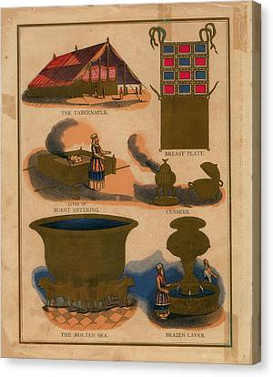 Tabernacle Details Old Testament Brazen Laver Priest Breast Plate Censers Canvas Print by Anne Cameron Cutri