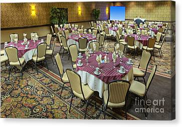 Table And Chairs In Hotel Dining Room Canvas Print by Andersen Ross