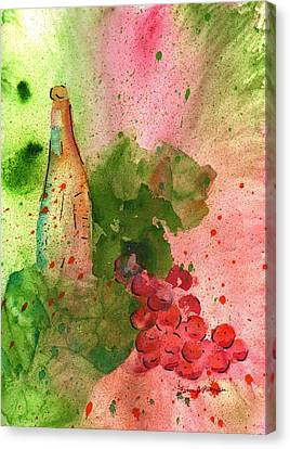 Red Cat Wine Canvas Print - Table Wine by Fern Payne