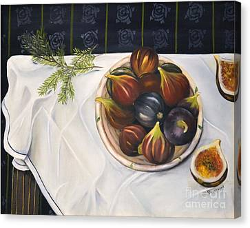 Canvas Print featuring the painting Table With Figs by Carol Sweetwood