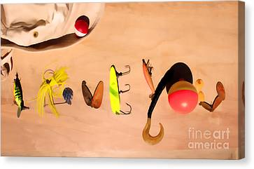 Canvas Print featuring the photograph Tacklebox I Love You by Cathy  Beharriell