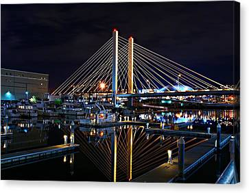 Tacoma Hwy 509 Bridge Up In Lights 1 Canvas Print by Rob Green