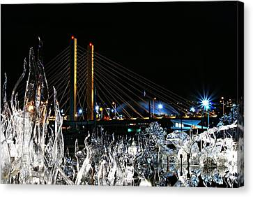 Tacoma Museum Of Glass Outdoor Sculpture Enhanced Canvas Print by Rob Green