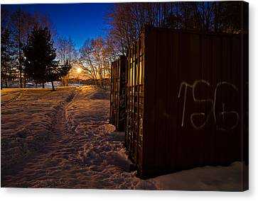 Canvas Print featuring the photograph Tagged Containers by Matti Ollikainen